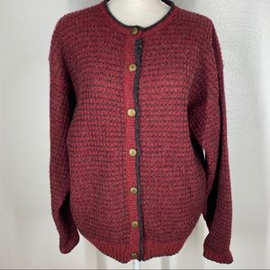 WOOLRICH Wool Cardigan Sweater Red Holiday M